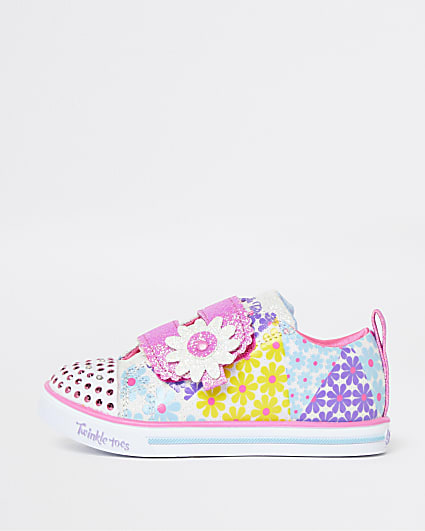 Mini girls pink Skechers floral trainers