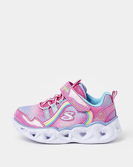 Mini girls pink Skechers heart trainers