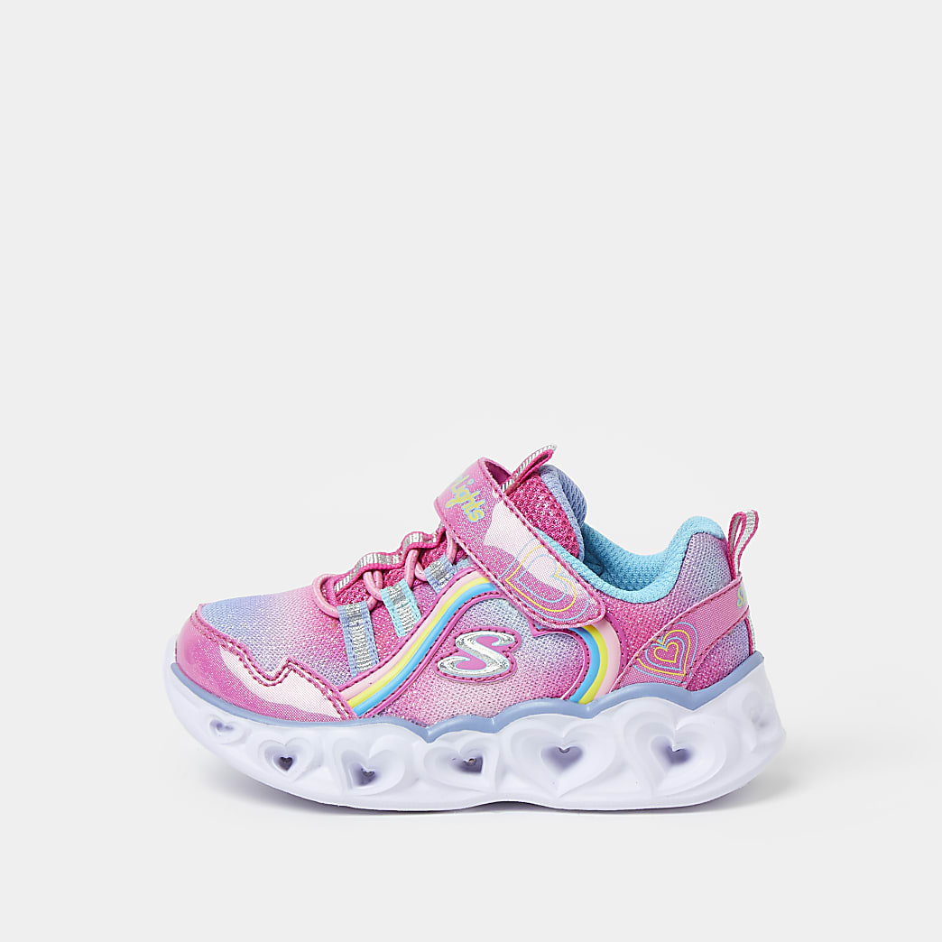 Mini girls pink Skechers heart trainers