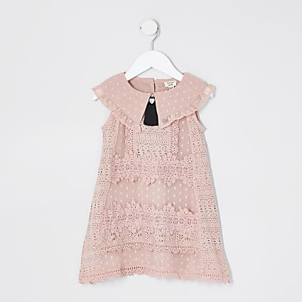 Mini Girls Pink Sleeveless Lace Swing Dress