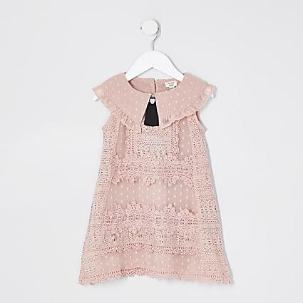Mini Girls Pink Sleeveless Lace Swing Dress