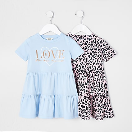 Mini girls pink smock leopard dress 2 pack
