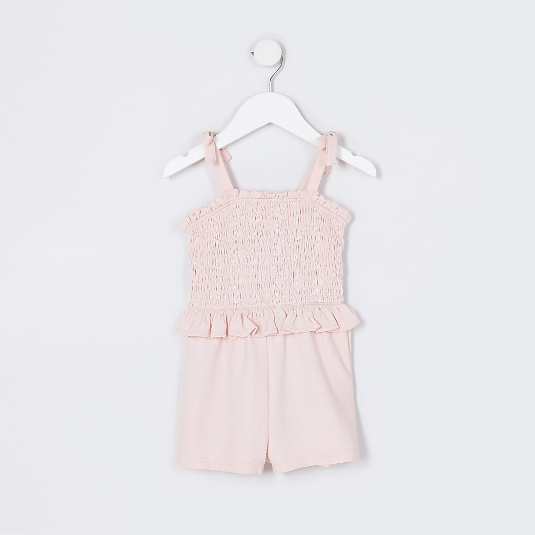 Mini girls pink strap playsuit