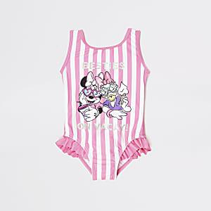 Minnie Maus Badeanzug mit rosa Streifen für kleine Mädchen