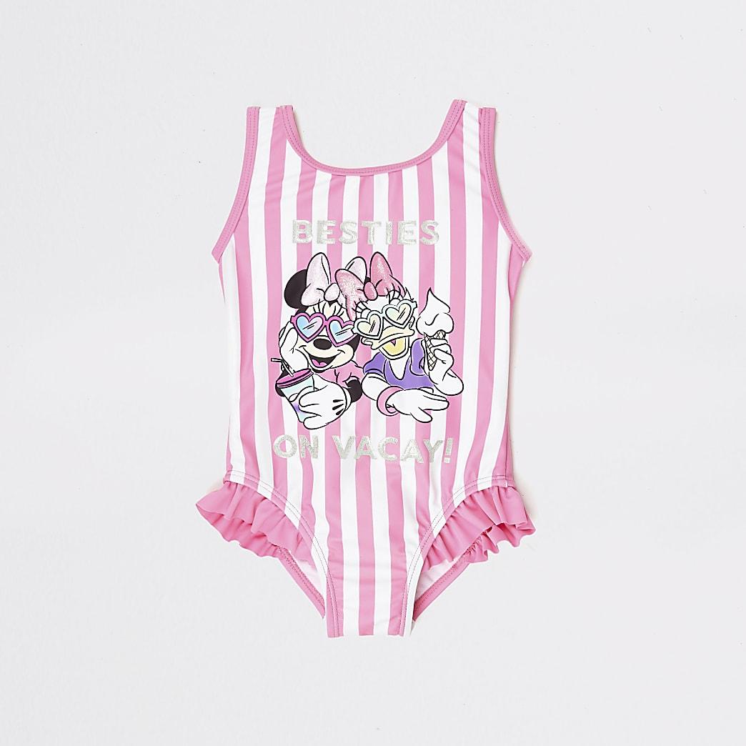 Mini girls pink stripe Minnie Mouse swimsuit