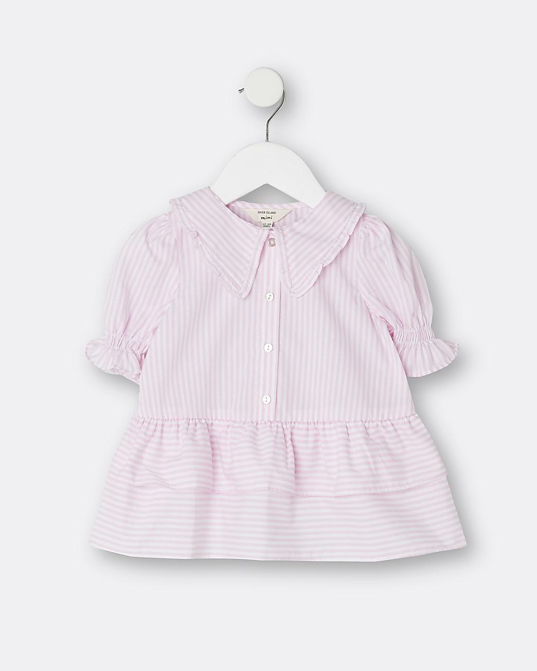 Mini girls pink stripe peplum shirt
