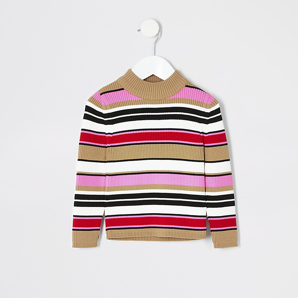Mini girls pink stripe turtle neck jumper