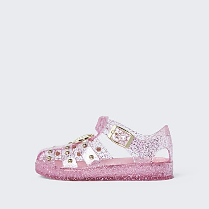 Mini girls pink studded caged jelly sandals