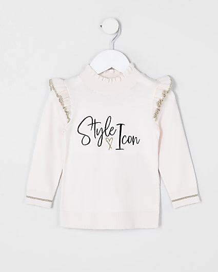 Mini girls pink 'Style icon' frill jumper