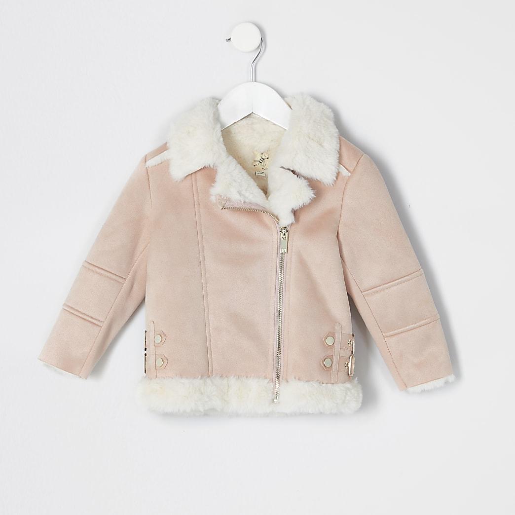 Mini girls pink suedette aviator jacket