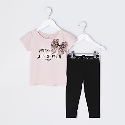 Mini girls pink 'Superpower' bow outfit