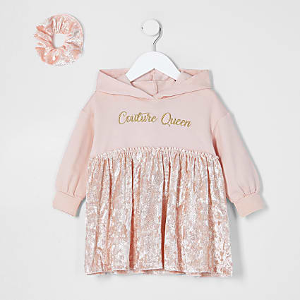 Mini girls pink sweat dress and scrunchie set
