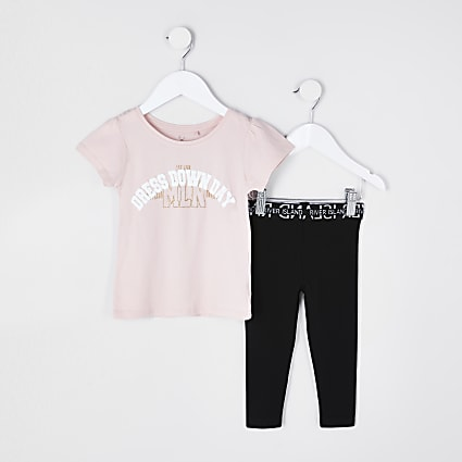 Mini girls pink t-shirt legging outfit