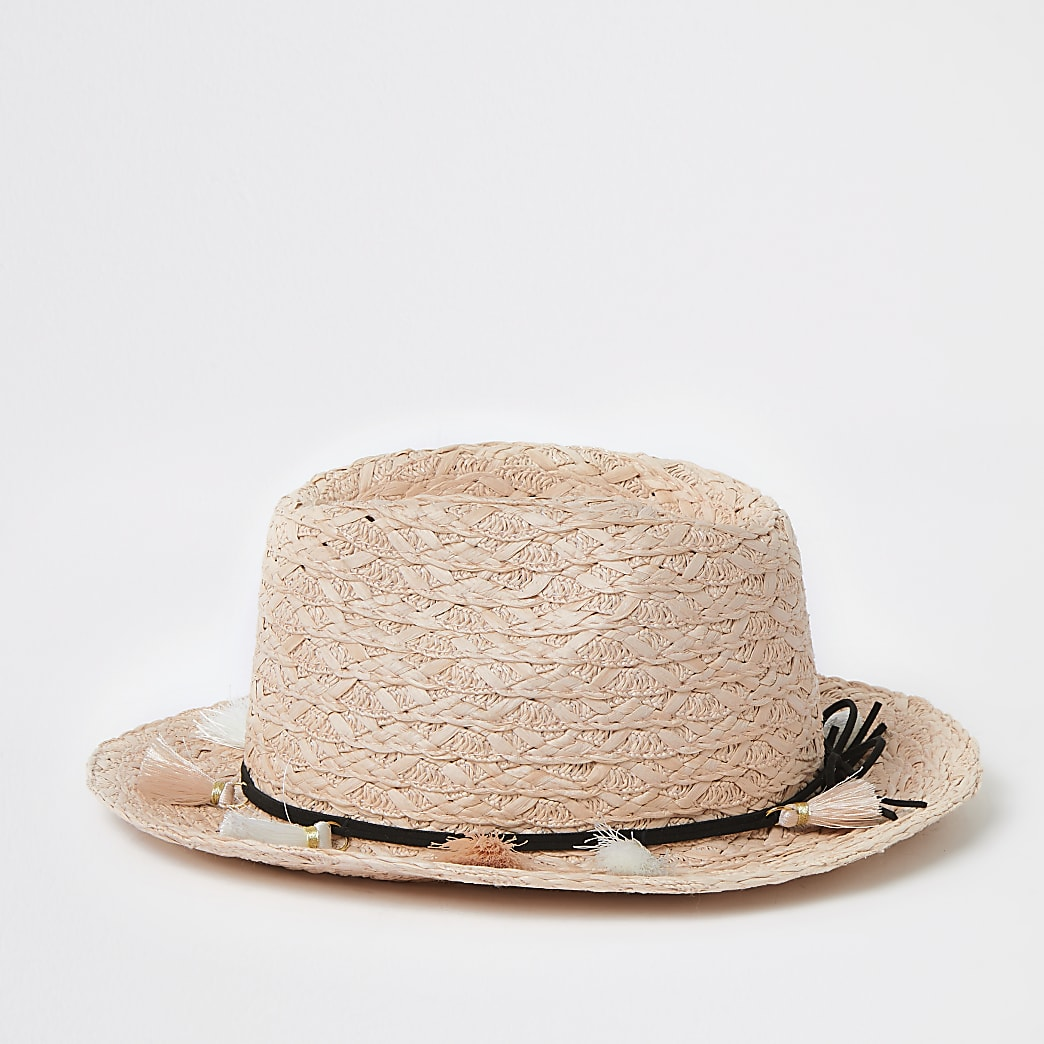 Mini girls pink tassel straw trilby hat