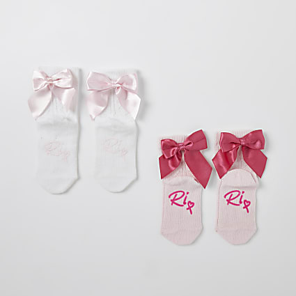 Mini girls pink textured bow socks 2 pack