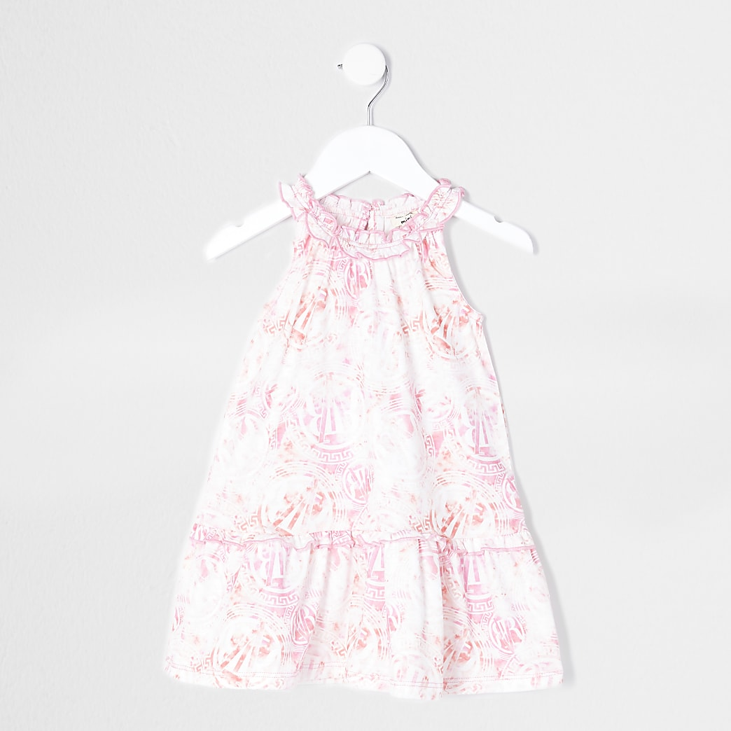 Mini girls pink tie dye halter neck dress