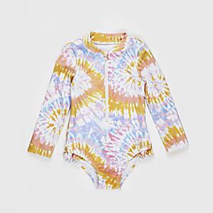 Mini– Pinker, gebatikter, langärmeliger Badeanzug für Mädchen