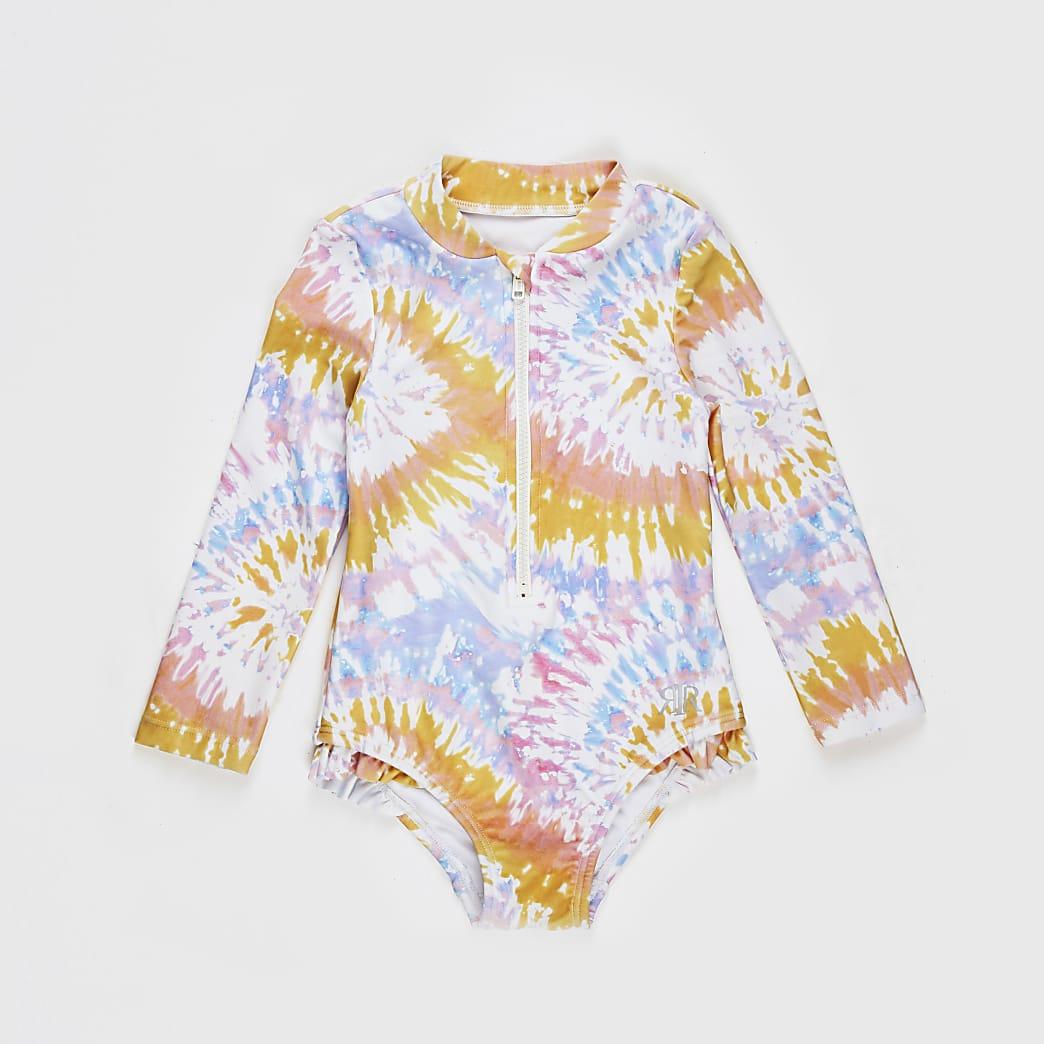Mini girls pink tie dye long sleeve swimsuit