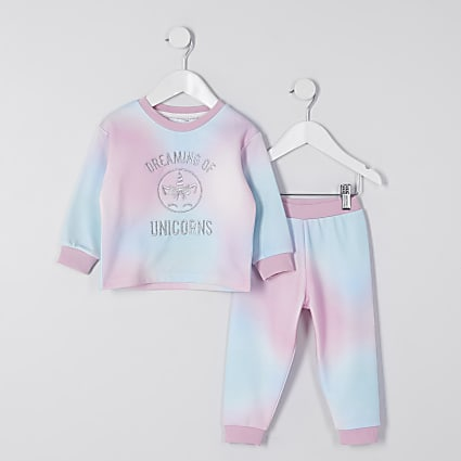 Mini girls pink tie dye loungewear set