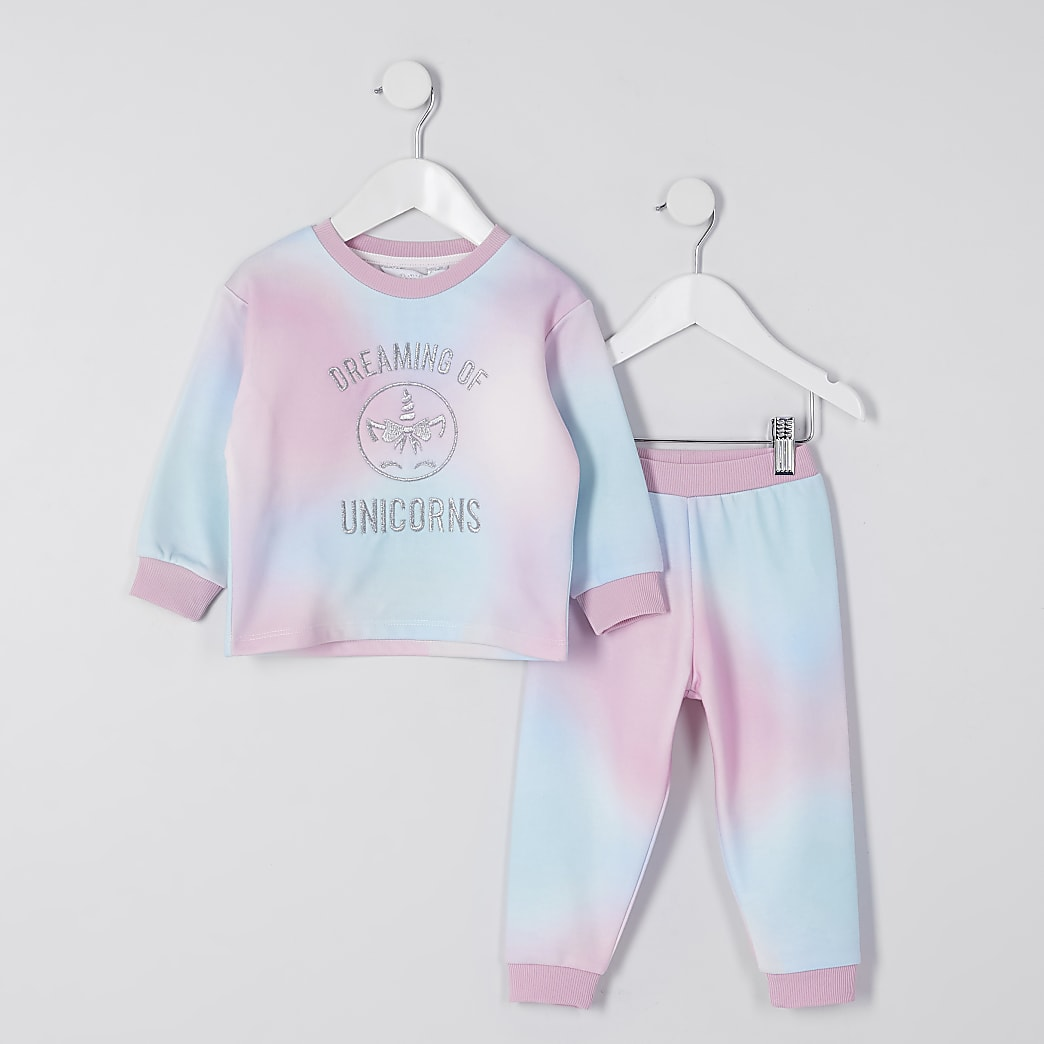 Mini girls pink tie dye loungewear set