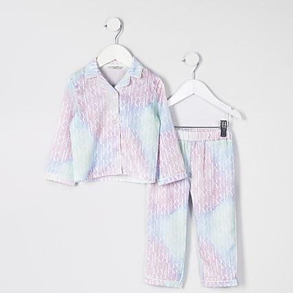 Mini girls pink tie dye monogram pyjama set