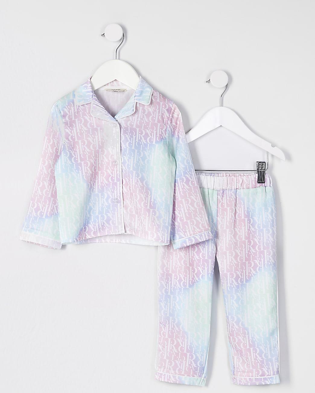 Mini girls pink tie dye monogram pyjamas