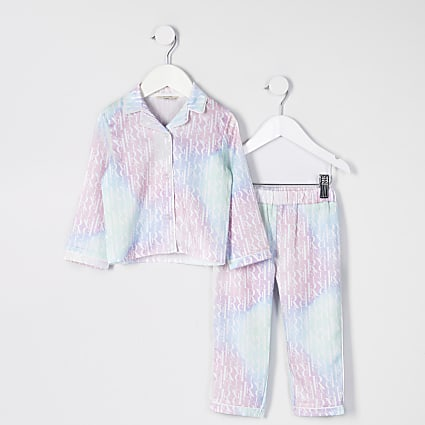 Mini girls pink tie dye monogram pyjamas