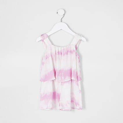 Mini girls pink tie dye playsuit
