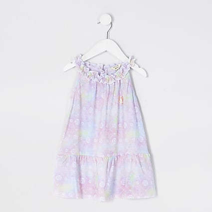 Mini girls pink tie dye print trapeze dress