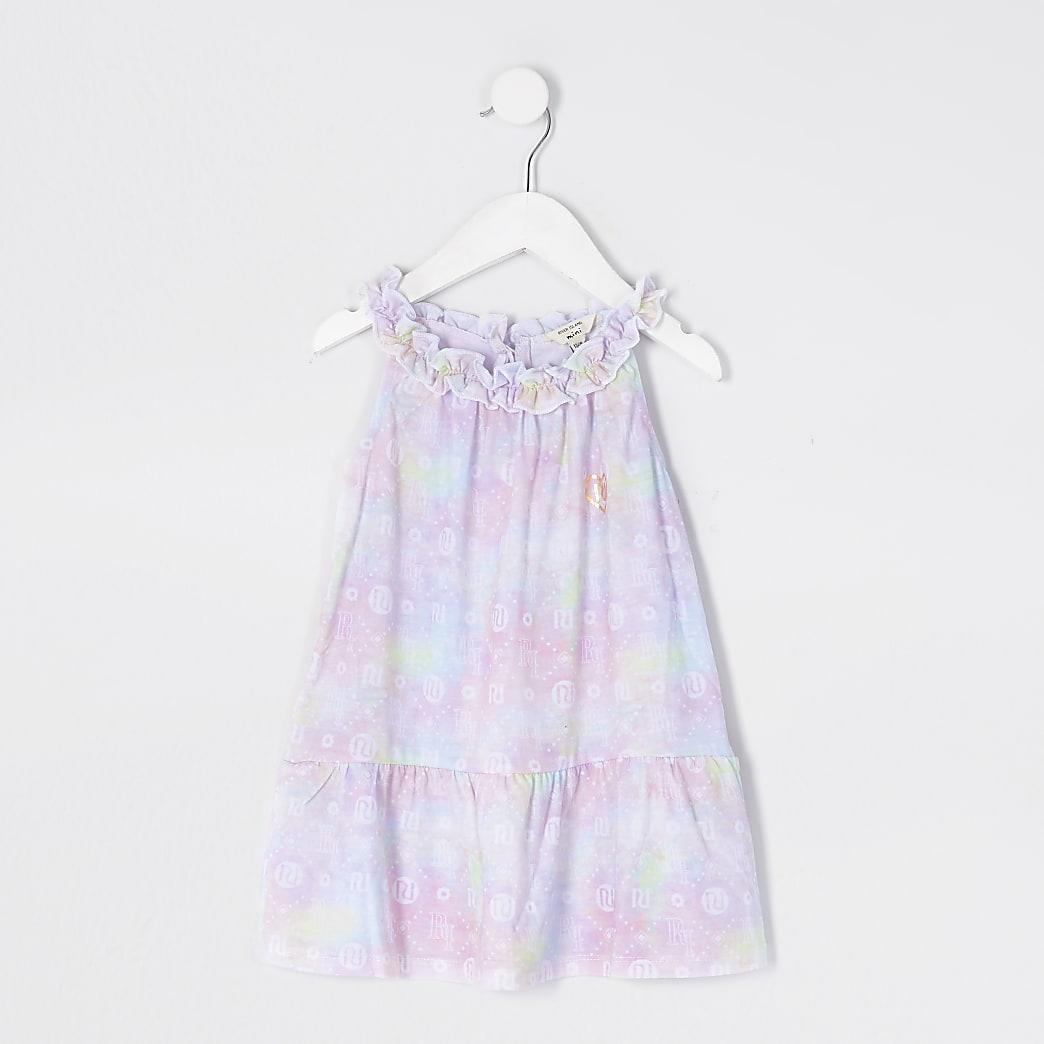 Mini girls pink tie dye print trapeze dress