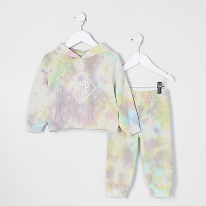 Mini girls pink tie dye sweat outfit