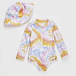 Mini– Set für Mädchen aus pinkem, gebatiktem Badeanzug und Hut