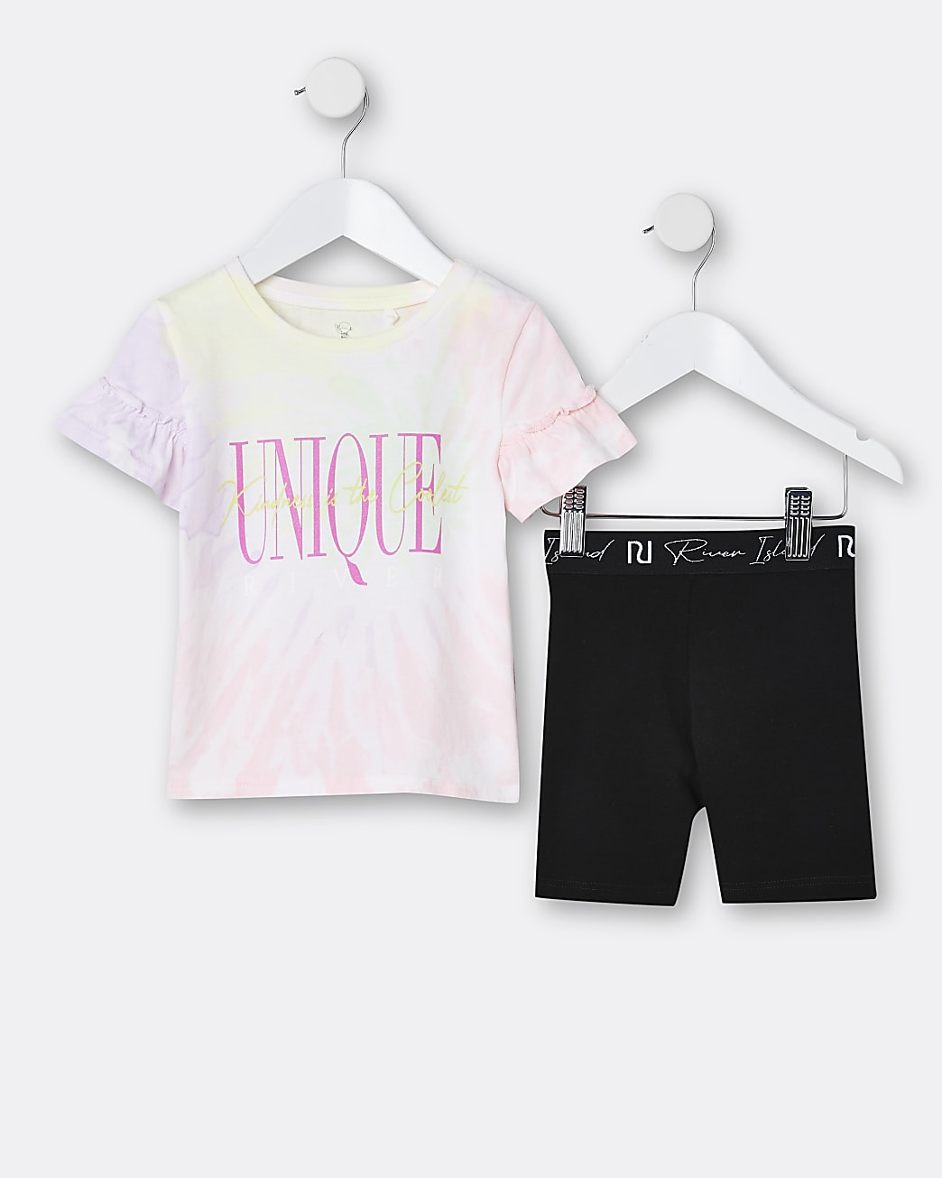 Mini girls pink tie dye t-shirt and leggings