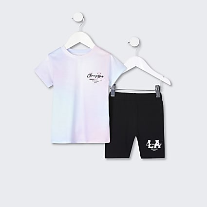 Mini girls pink tie dye t-shirt outfit