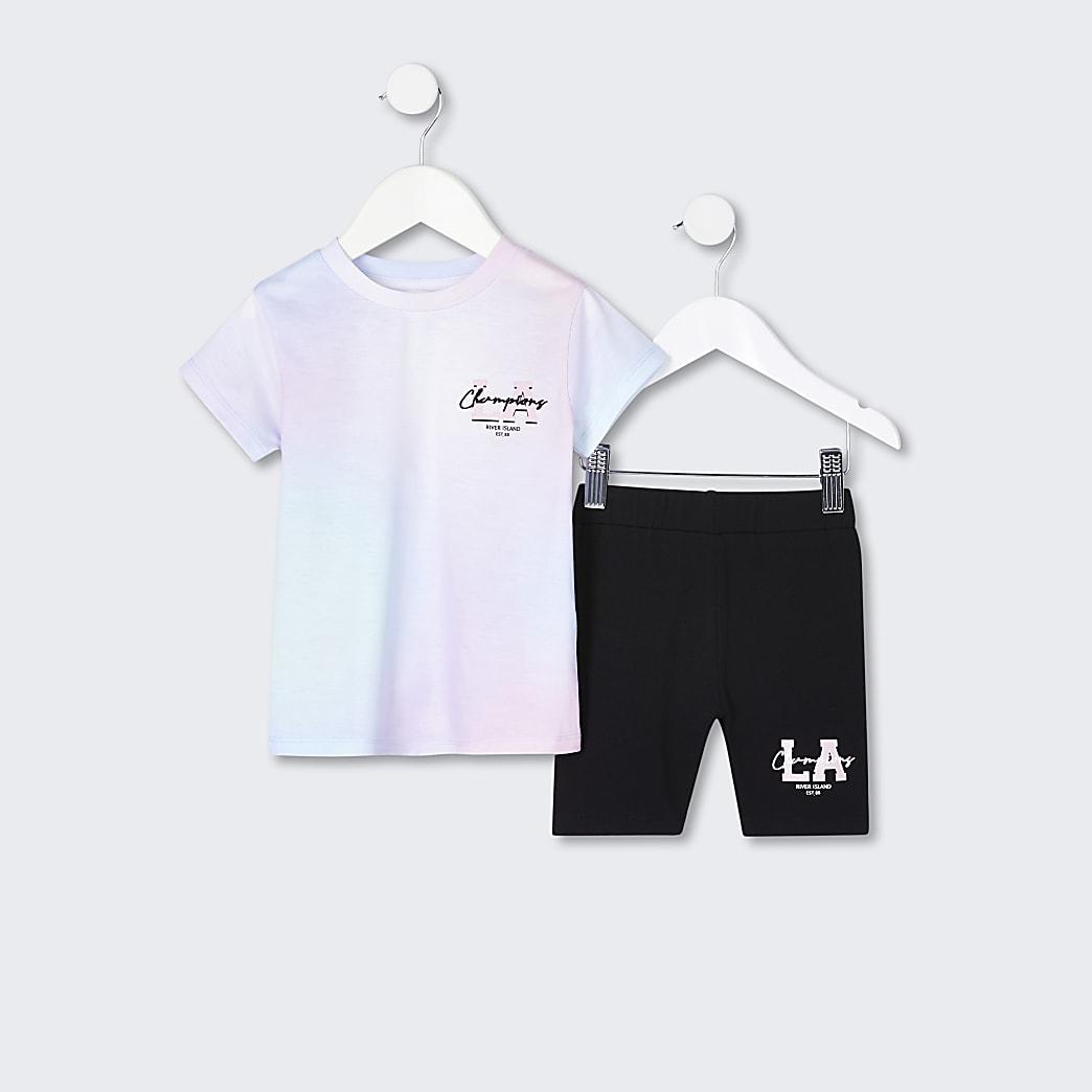 Mini girls pink tie dye t-shirt outfit