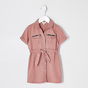 Robe chemise rose nouée à la taille Mini fille