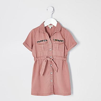 Mini girls pink tie waist shirt dress