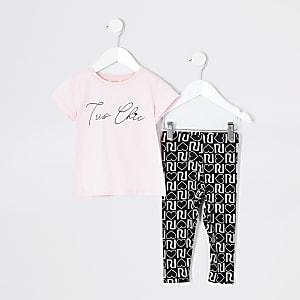 Mini - Roze outfit met T-shirt met 'Tres chic'-print voor meisjes