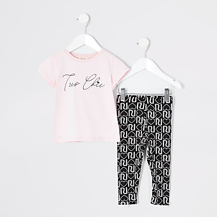 Mini girls pink 'Tres chic' T-shirt outfit