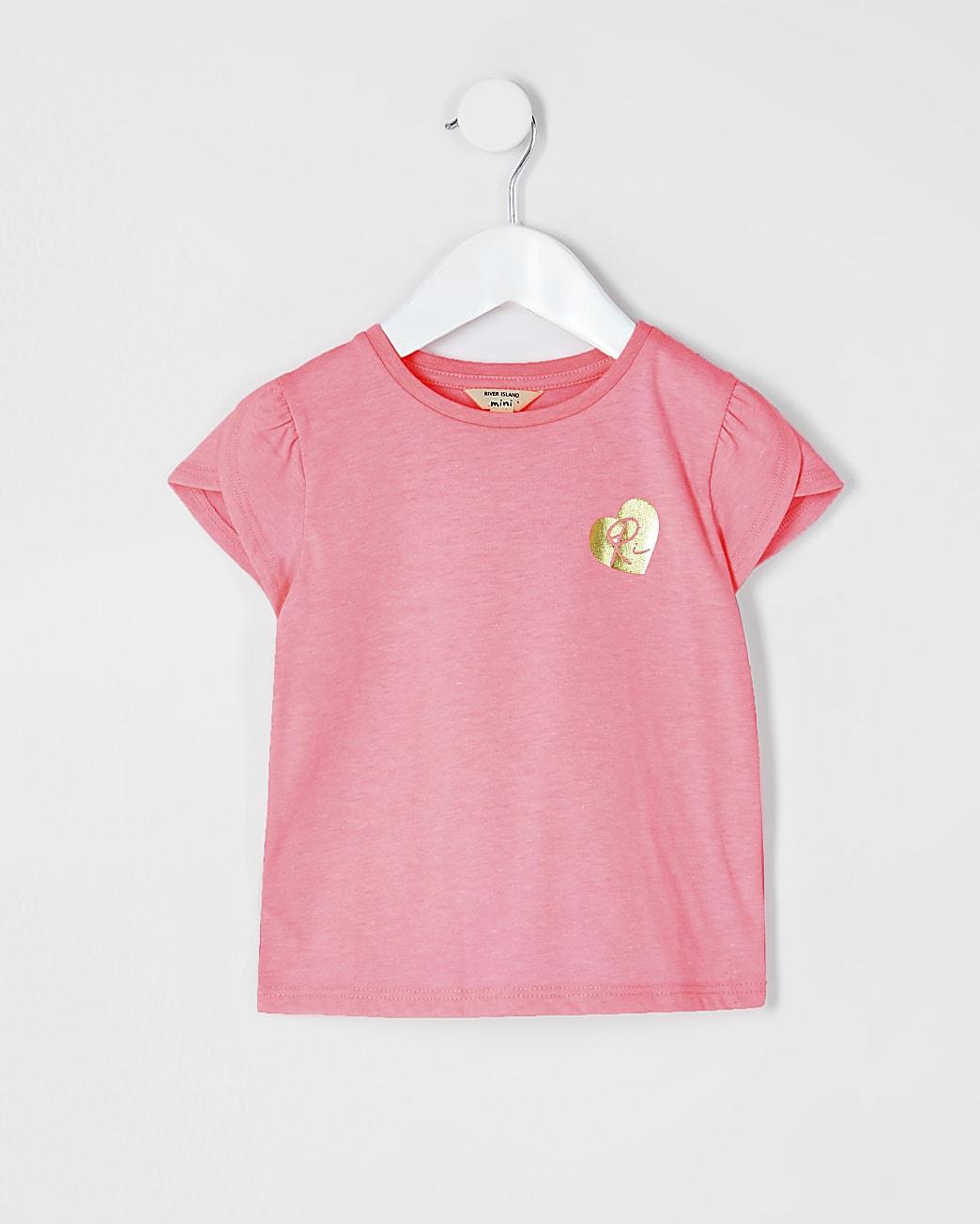 Mini girls pink tulip sleeve t-shirt