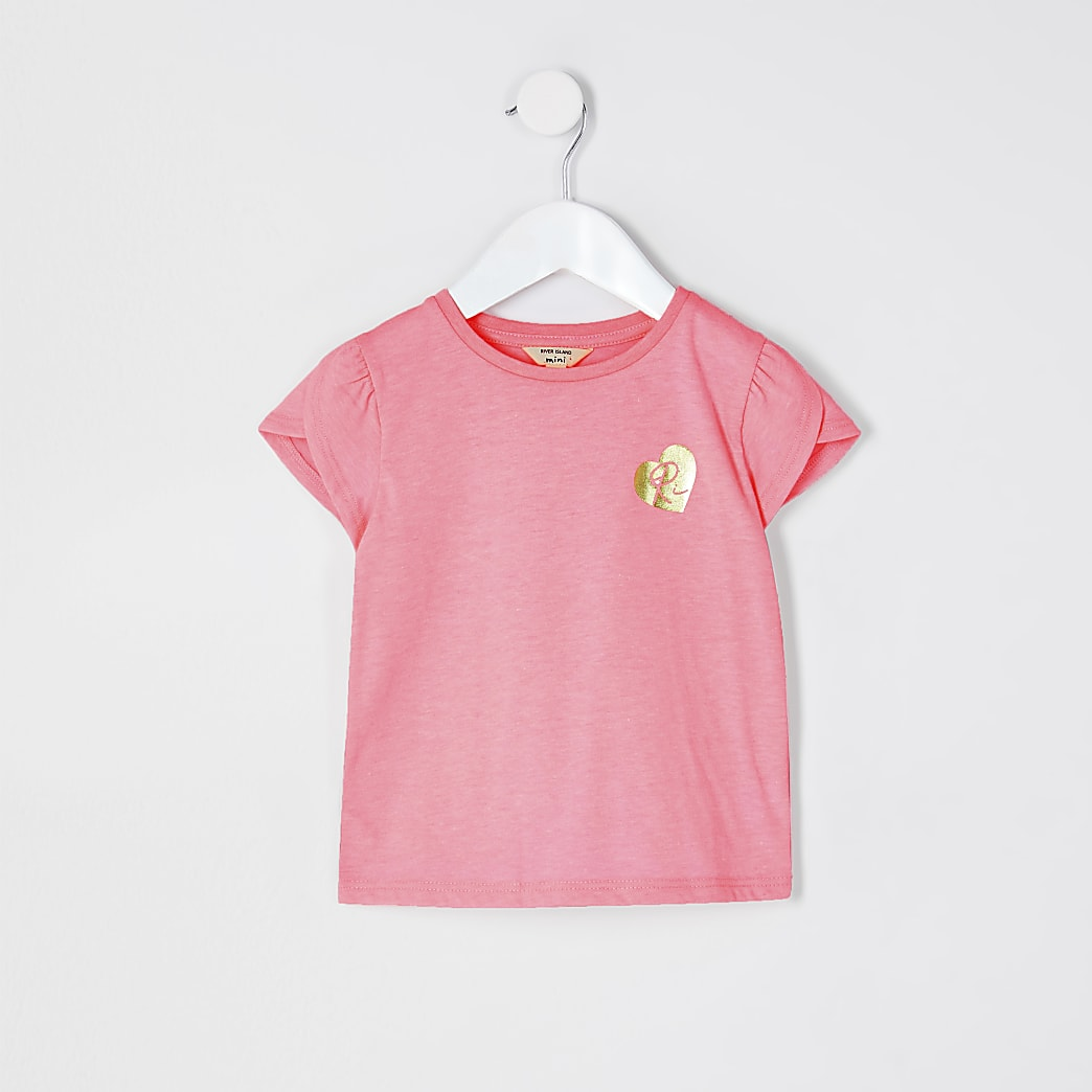 Mini girls pink tulip sleeve t-shirt