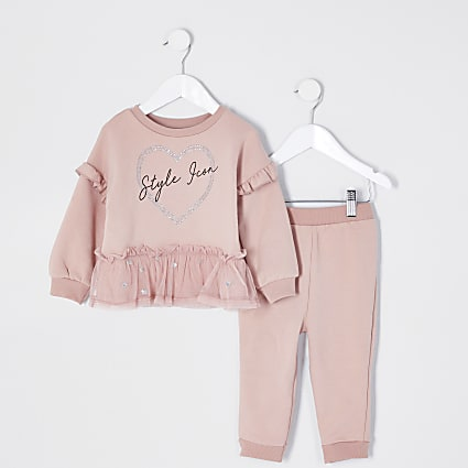 Mini girls pink tulle trim sweatshirt outfit