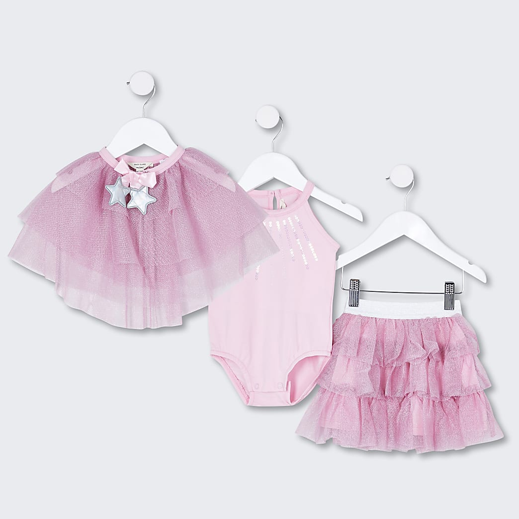 Mini girls pink tutu skirt and cape outfit