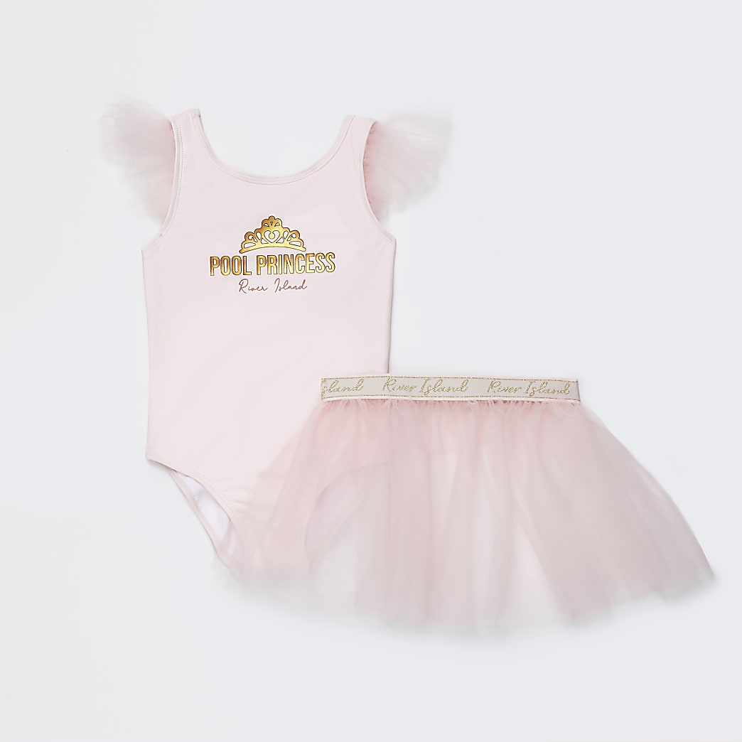 Mini girls pink tutu swim set