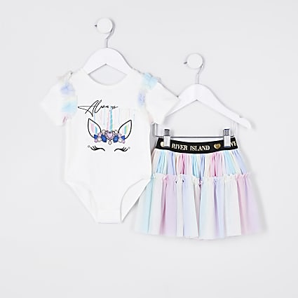 Mini girls pink unicorn bodysuit tutu outfit