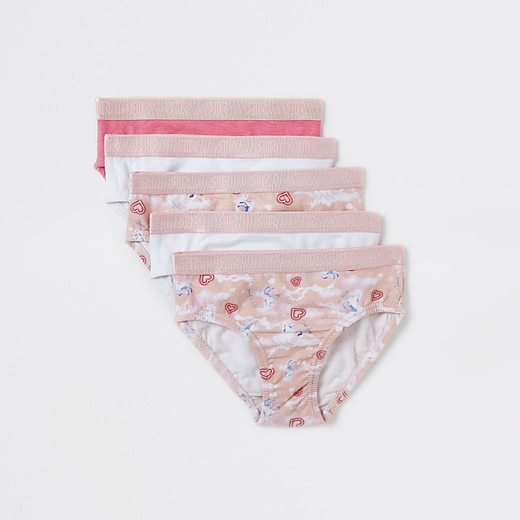 Mini girls pink unicorn briefs 5 pack