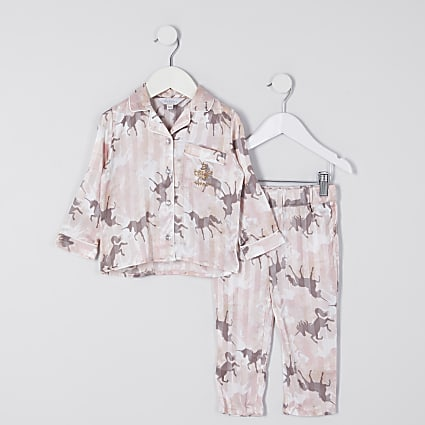 Mini girls pink unicorn camo satin pyjamas