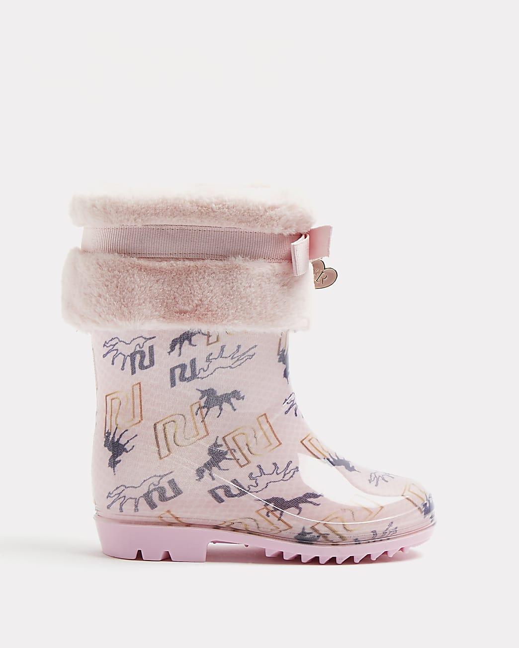 Mini girls pink unicorn faux fur wellie boots