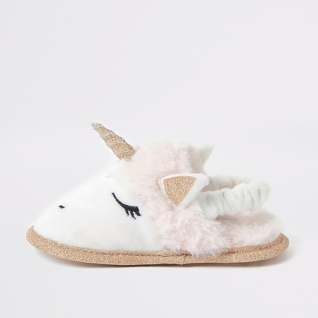 Mini girls pink unicorn glitter slipper