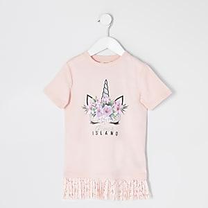 Mini– Pinkes Kleid mit Einhornmotiv und Spitzensaum für Mädchen